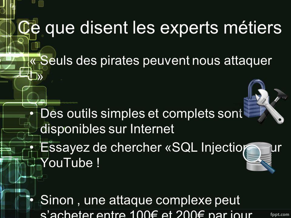 Ce que disent les experts métiers « Seuls des pirates peuvent nous attaquer .