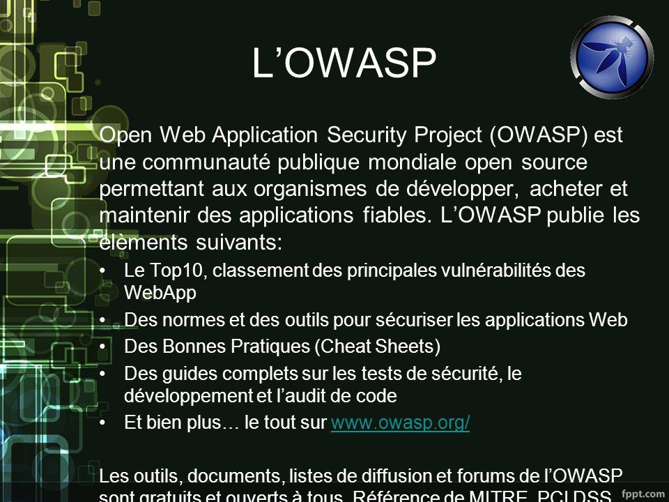 LOWASP Open Web Application Security Project (OWASP) est une communauté publique mondiale open source permettant aux organismes de développer, acheter et maintenir des applications fiables.