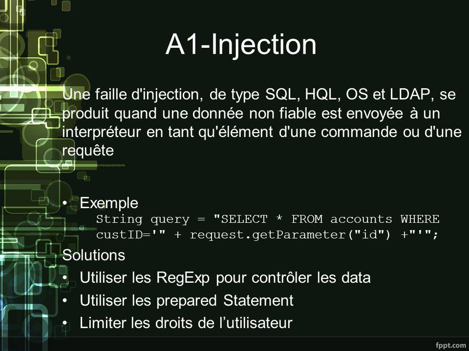 A1-Injection Une faille d injection, de type SQL, HQL, OS et LDAP, se produit quand une donnée non fiable est envoyée à un interpréteur en tant qu élément d une commande ou d une requête Exemple Solutions Utiliser les RegExp pour contrôler les data Utiliser les prepared Statement Limiter les droits de lutilisateur String query = SELECT * FROM accounts WHERE custID= + request.getParameter( id ) + ;