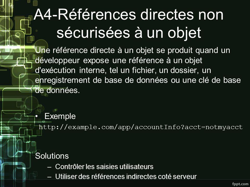 A4-Références directes non sécurisées à un objet Une référence directe à un objet se produit quand un développeur expose une référence à un objet d exécution interne, tel un fichier, un dossier, un enregistrement de base de données ou une clé de base de données.