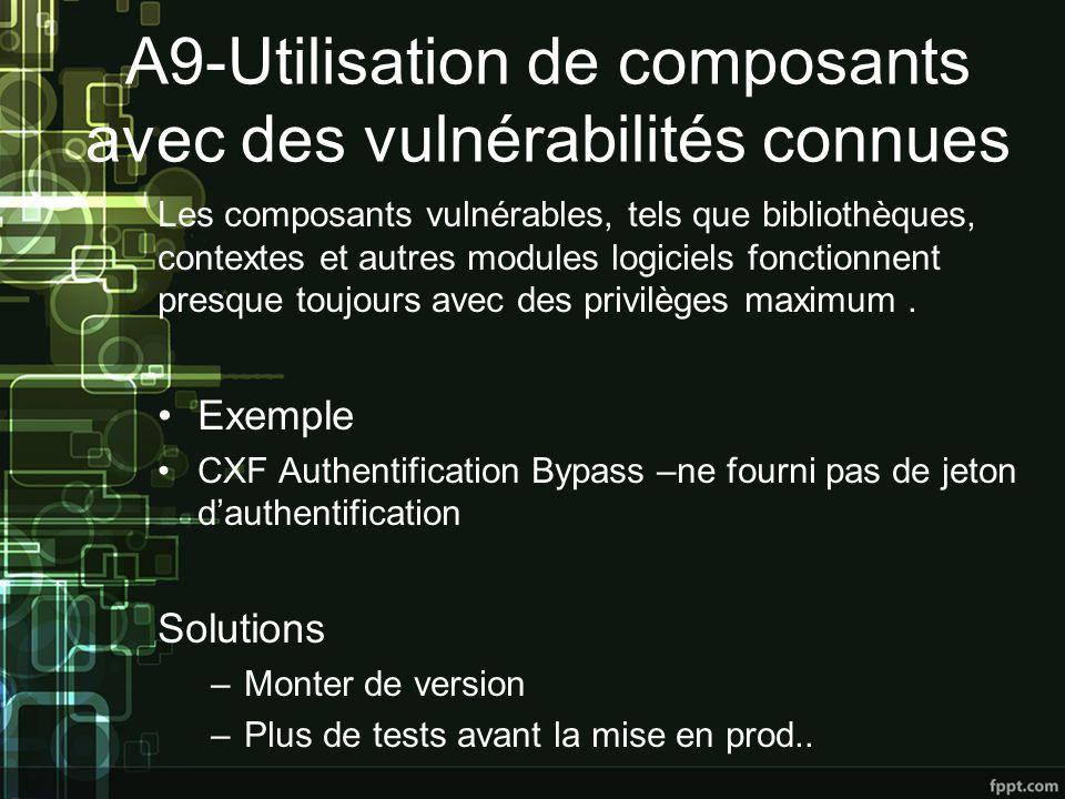 A9-Utilisation de composants avec des vulnérabilités connues Les composants vulnérables, tels que bibliothèques, contextes et autres modules logiciels fonctionnent presque toujours avec des privilèges maximum.