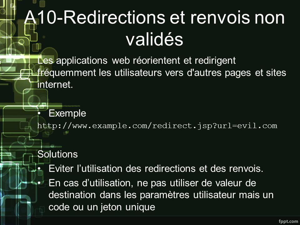 A10-Redirections et renvois non validés Les applications web réorientent et redirigent fréquemment les utilisateurs vers d autres pages et sites internet.