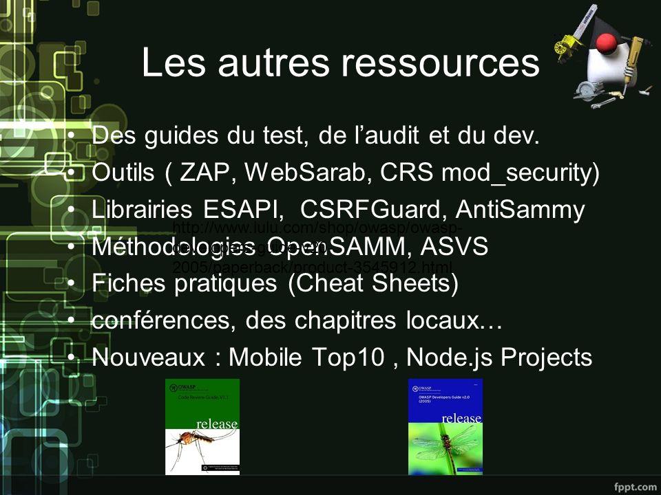 Les autres ressources Des guides du test, de laudit et du dev.