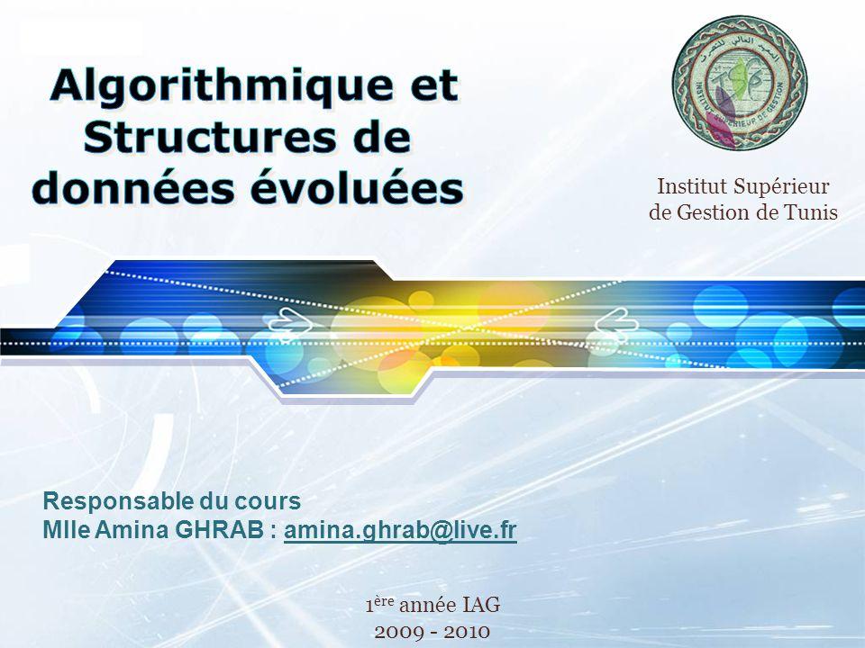 LOGO Responsable du cours Mlle Amina GHRAB : amina.ghrab@live.fr 1 ère année IAG 2009 - 2010 Institut Supérieur de Gestion de Tunis