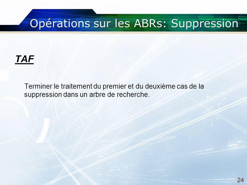 Opérations sur les ABRs: Suppression TAF Terminer le traitement du premier et du deuxième cas de la suppression dans un arbre de recherche.