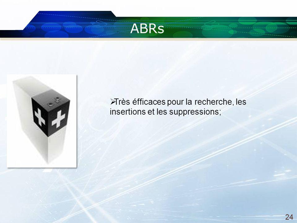 ABRs Très éfficaces pour la recherche, les insertions et les suppressions; 24