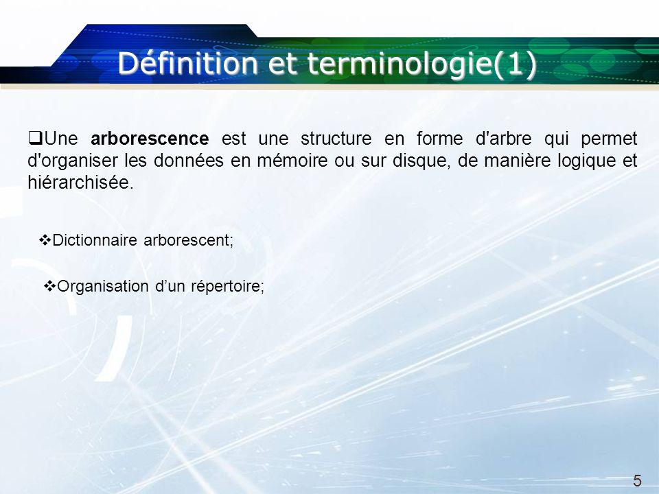 Définitionetterminologie(1) Définition et terminologie(1) 5 Une arborescence est une structure en forme d arbre qui permet d organiser les données en mémoire ou sur disque, de manière logique et hiérarchisée.