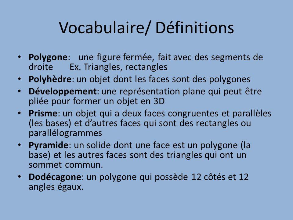 Vocabulaire/ Définitions Polygone: une figure fermée, fait avec des segments de droite Ex. Triangles, rectangles Polyhèdre: un objet dont les faces so