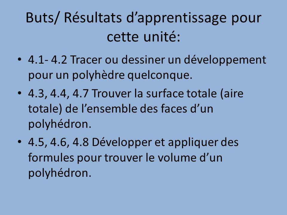 Buts/ Résultats dapprentissage pour cette unité: 4.1- 4.2 Tracer ou dessiner un développement pour un polyhèdre quelconque. 4.3, 4.4, 4.7 Trouver la s