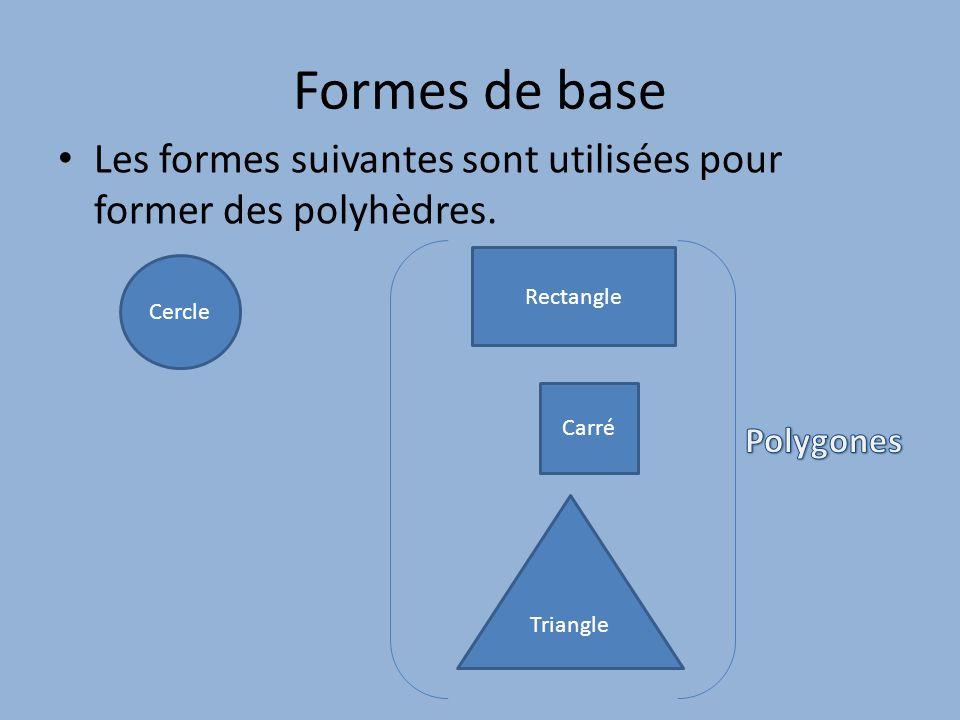 Formes de base Les formes suivantes sont utilisées pour former des polyhèdres. Cercle Rectangle Triangle Carré