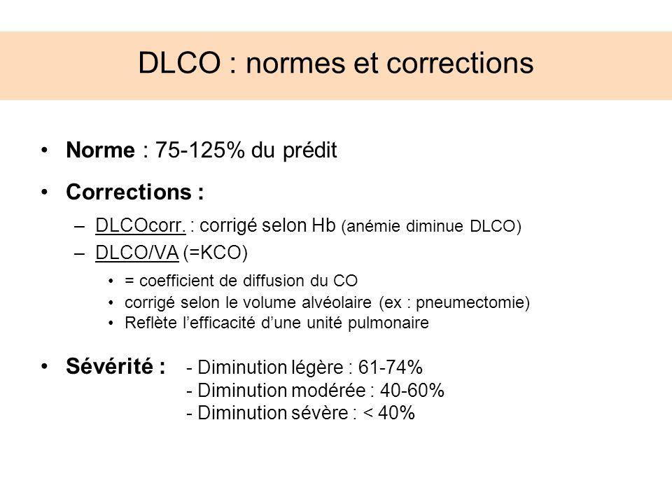 DLCO : normes et corrections Norme : 75-125% du prédit Corrections : –DLCOcorr. : corrigé selon Hb (anémie diminue DLCO) –DLCO/VA (=KCO) = coefficient
