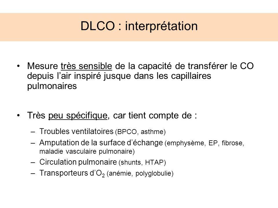 DLCO : interprétation Mesure très sensible de la capacité de transférer le CO depuis lair inspiré jusque dans les capillaires pulmonaires Très peu spé