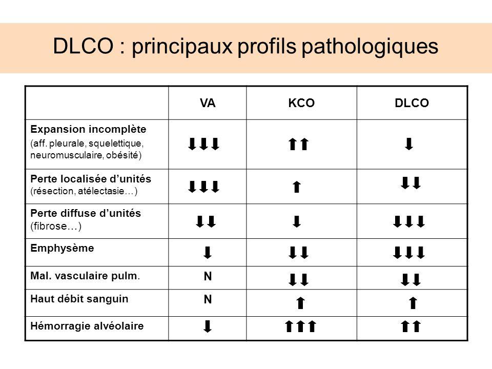 DLCO : principaux profils pathologiques VAKCODLCO Expansion incomplète (aff. pleurale, squelettique, neuromusculaire, obésité) Perte localisée dunités