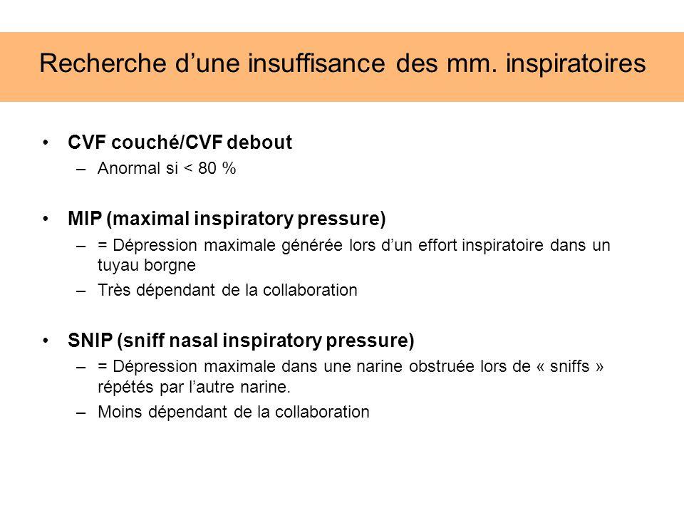 CVF couché/CVF debout –Anormal si < 80 % MIP (maximal inspiratory pressure) –= Dépression maximale générée lors dun effort inspiratoire dans un tuyau