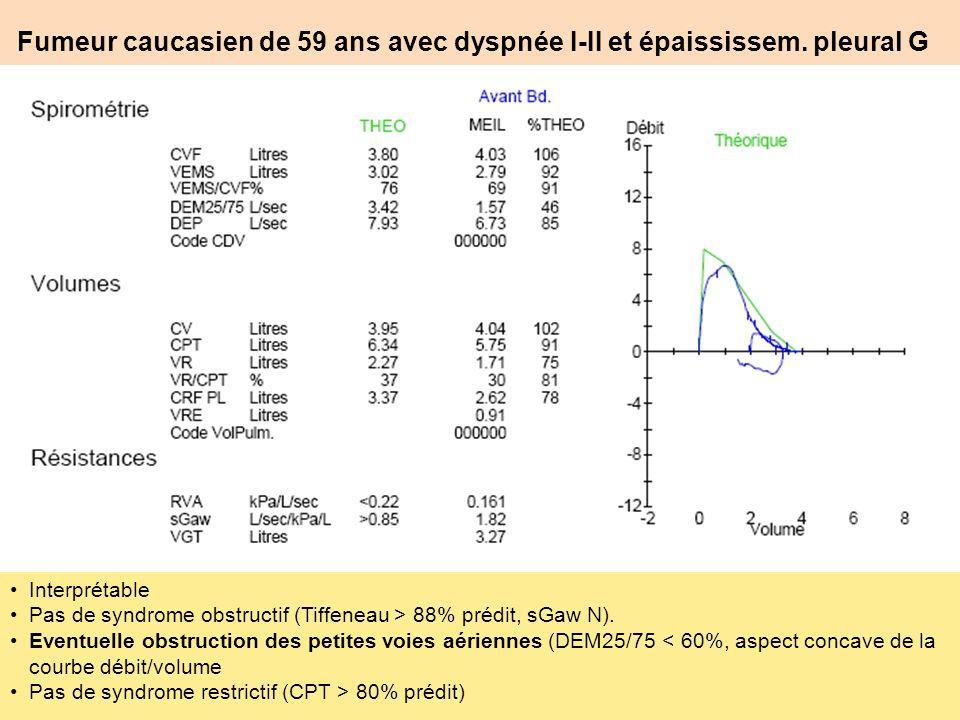 Fumeur caucasien de 59 ans avec dyspnée I-II et épaississem. pleural G Interprétable Pas de syndrome obstructif (Tiffeneau > 88% prédit, sGaw N). Even