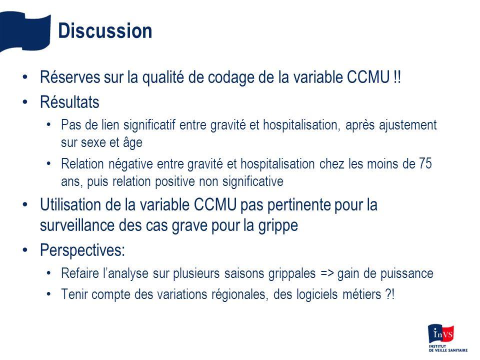 Discussion Réserves sur la qualité de codage de la variable CCMU !.