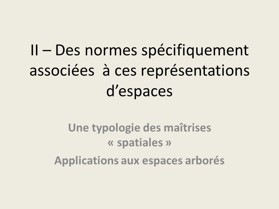 II – Des normes spécifiquement associées à ces représentations despaces Une typologie des maîtrises « spatiales » Applications aux espaces arborés