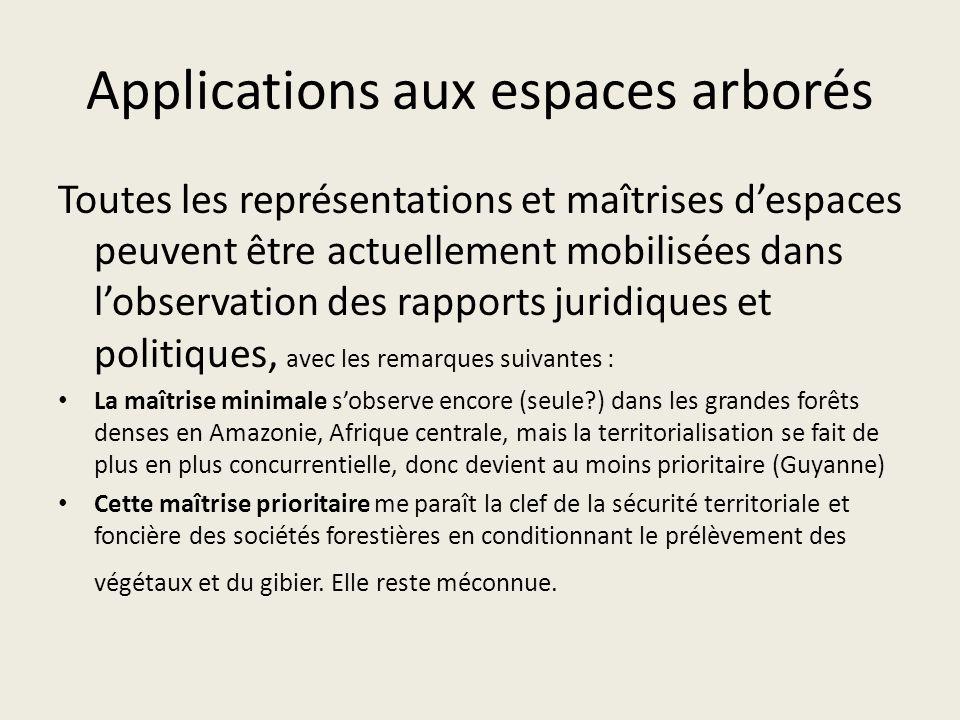 Applications aux espaces arborés Toutes les représentations et maîtrises despaces peuvent être actuellement mobilisées dans lobservation des rapports