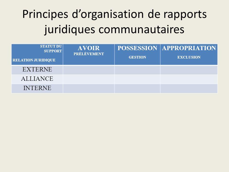 Principes dorganisation de rapports juridiques communautaires STATUT DU SUPPORT RELATION JURIDIQUE AVOIR PRÉLÉVEMENT POSSESSION GESTION APPROPRIATION EXCLUSION EXTERNE ALLIANCE INTERNE