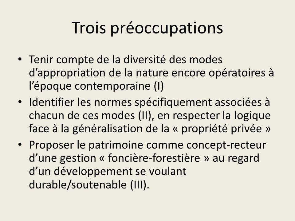 Trois préoccupations Tenir compte de la diversité des modes dappropriation de la nature encore opératoires à lépoque contemporaine (I) Identifier les