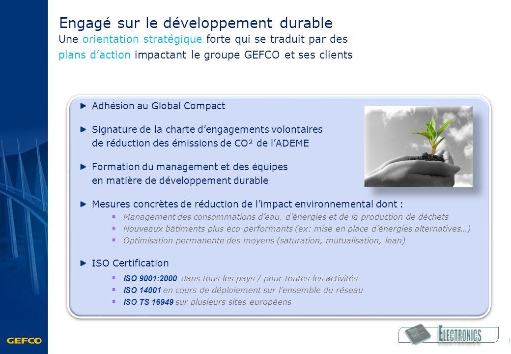 Engagé sur le développement durable Une orientation stratégique forte qui se traduit par des plans daction impactant le groupe GEFCO et ses clients Ad