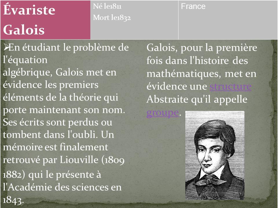Évariste Galois Né le1811 Mort le1832 France En étudiant le problème de l équation algébrique, Galois met en évidence les premiers éléments de la théorie qui porte maintenant son nom.
