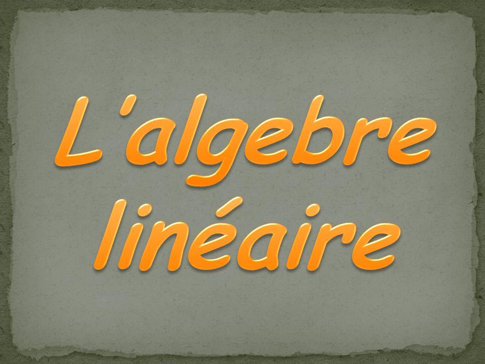 Introduction: Lalgébre linéaire Histoire du algébre linéaire Dates sur les mathématiques qui ont contribué au développement du algébre linéaire Application dans la vie quotidienne Bibliographie et sitographie