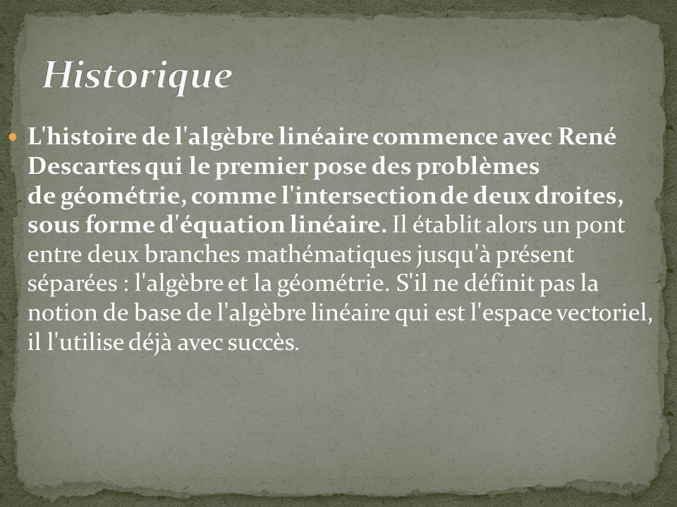 L histoire de l algèbre linéaire commence avec René Descartes qui le premier pose des problèmes de géométrie, comme l intersection de deux droites, sous forme d équation linéaire.