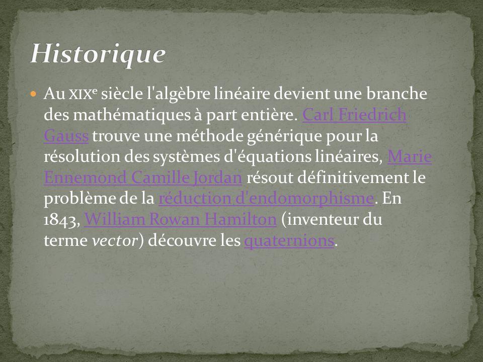 Au XIX e siècle l algèbre linéaire devient une branche des mathématiques à part entière.