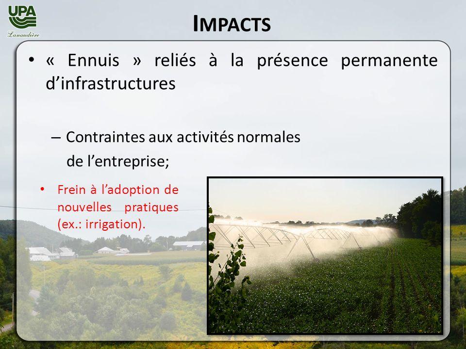 I MPACTS « Ennuis » reliés à la présence permanente dinfrastructures – Contraintes aux activités normales de lentreprise; Frein à ladoption de nouvelles pratiques (ex.: irrigation).