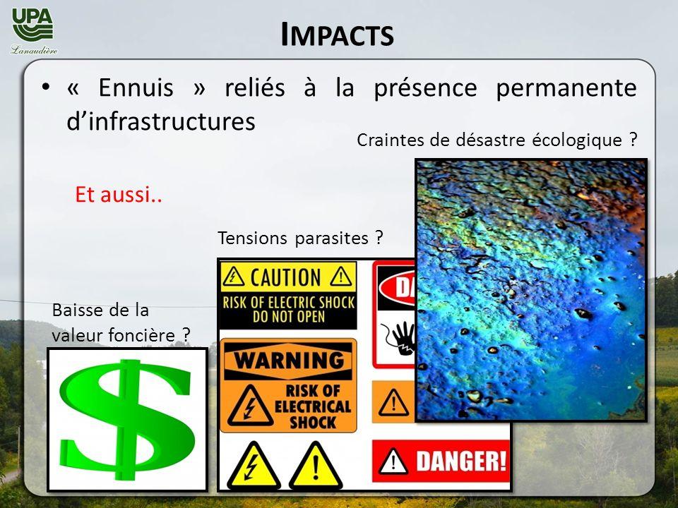 I MPACTS « Ennuis » reliés à la présence permanente dinfrastructures Et aussi..