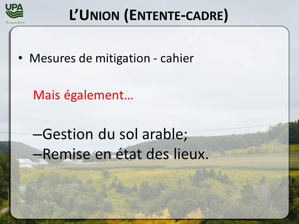 LU NION (E NTENTE - CADRE ) Mesures de mitigation - cahier Mais également… – Gestion du sol arable; – Remise en état des lieux.