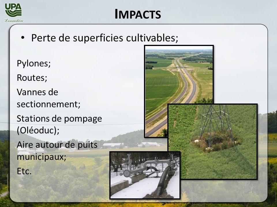 I MPACTS Pylones; Routes; Vannes de sectionnement; Stations de pompage (Oléoduc); Aire autour de puits municipaux; Etc.