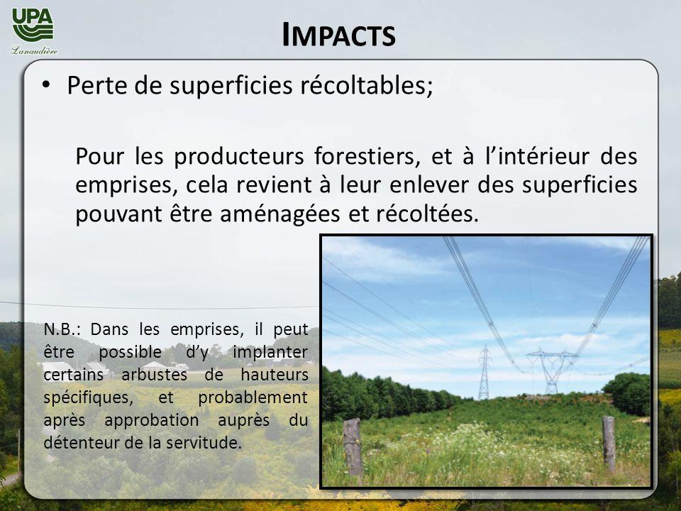 I MPACTS Perte de superficies récoltables; Pour les producteurs forestiers, et à lintérieur des emprises, cela revient à leur enlever des superficies pouvant être aménagées et récoltées.