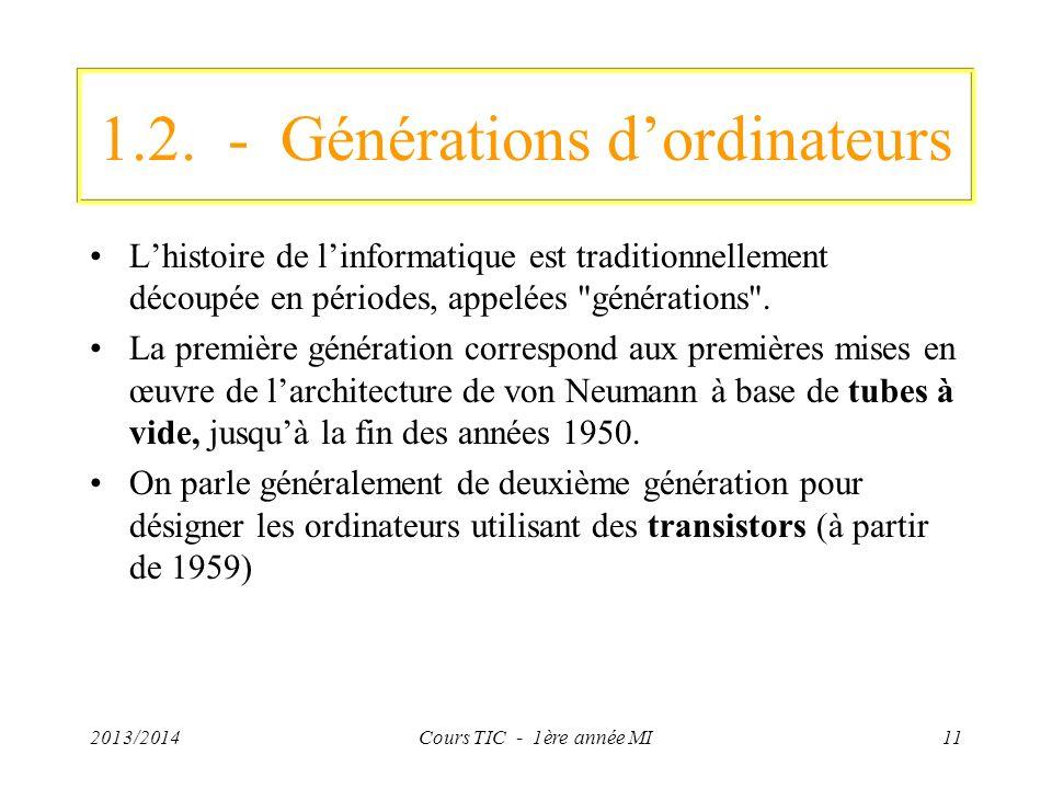 1.2. - Générations dordinateurs Lhistoire de linformatique est traditionnellement découpée en périodes, appelées