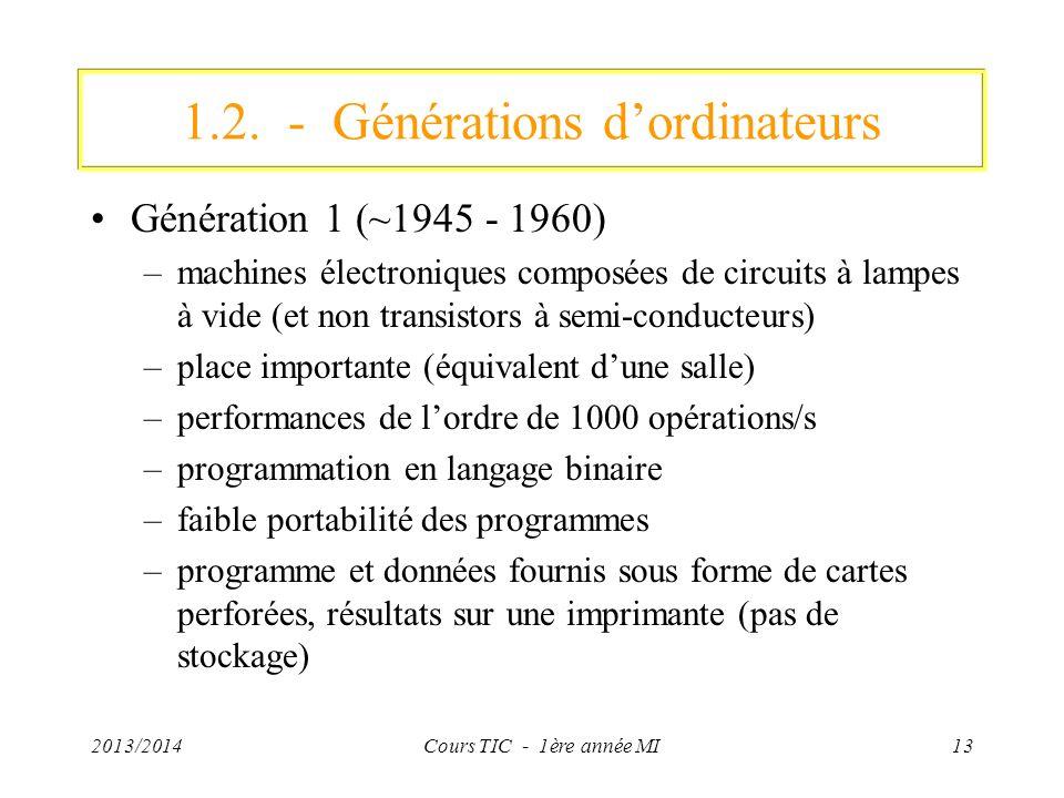2013/2014Cours TIC - 1ère année MI13 1.2. - Générations dordinateurs Génération 1 (~1945 - 1960) –machines électroniques composées de circuits à lampe