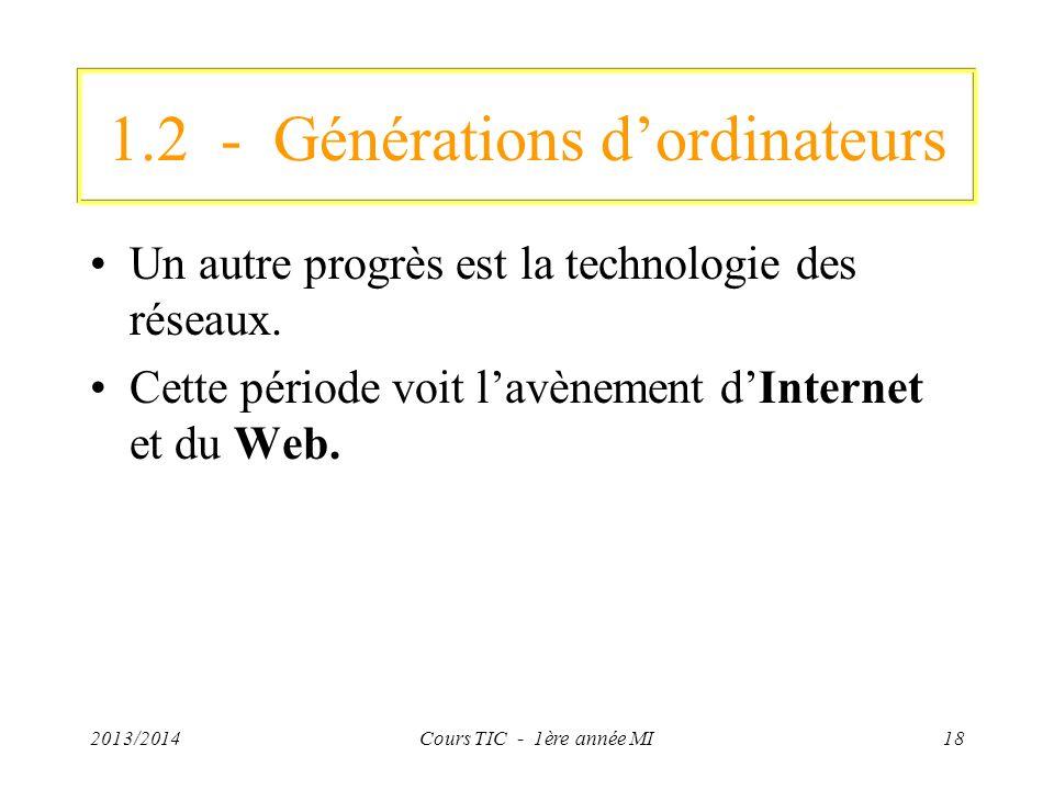 1.2 - Générations dordinateurs Un autre progrès est la technologie des réseaux. Cette période voit lavènement dInternet et du Web. 2013/2014Cours TIC