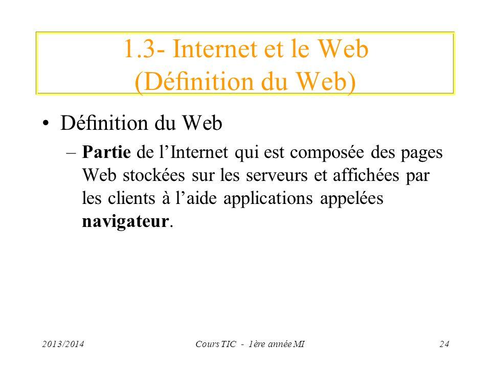 1.3- Internet et le Web (Dénition du Web) Dénition du Web –Partie de lInternet qui est composée des pages Web stockées sur les serveurs et affichées p