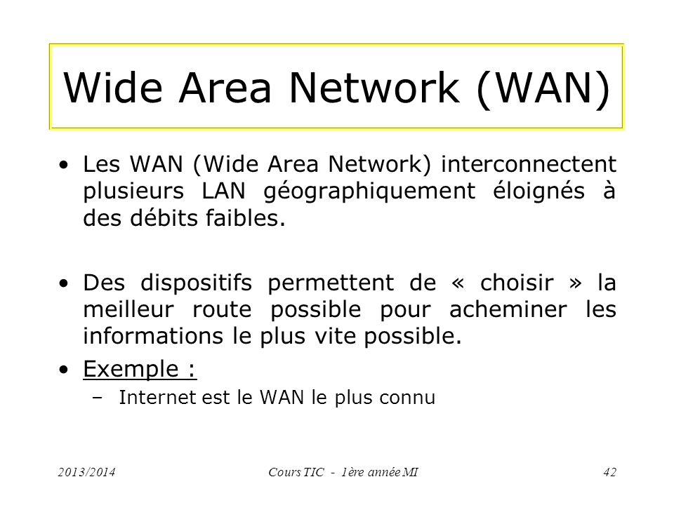 Wide Area Network (WAN) Les WAN (Wide Area Network) interconnectent plusieurs LAN géographiquement éloignés à des débits faibles. Des dispositifs perm
