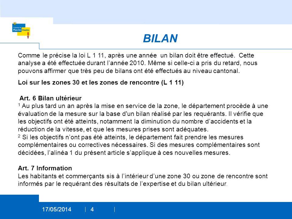 BILAN 17/05/20144 Comme le précise la loi L 1 11, après une année un bilan doit être effectué.