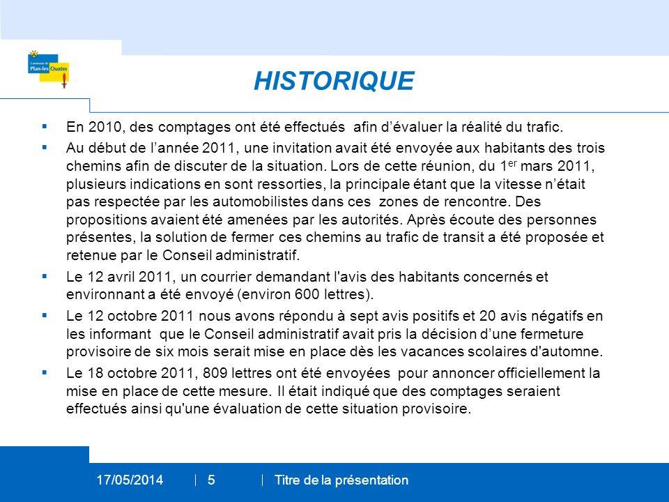En 2010, des comptages ont été effectués afin dévaluer la réalité du trafic.