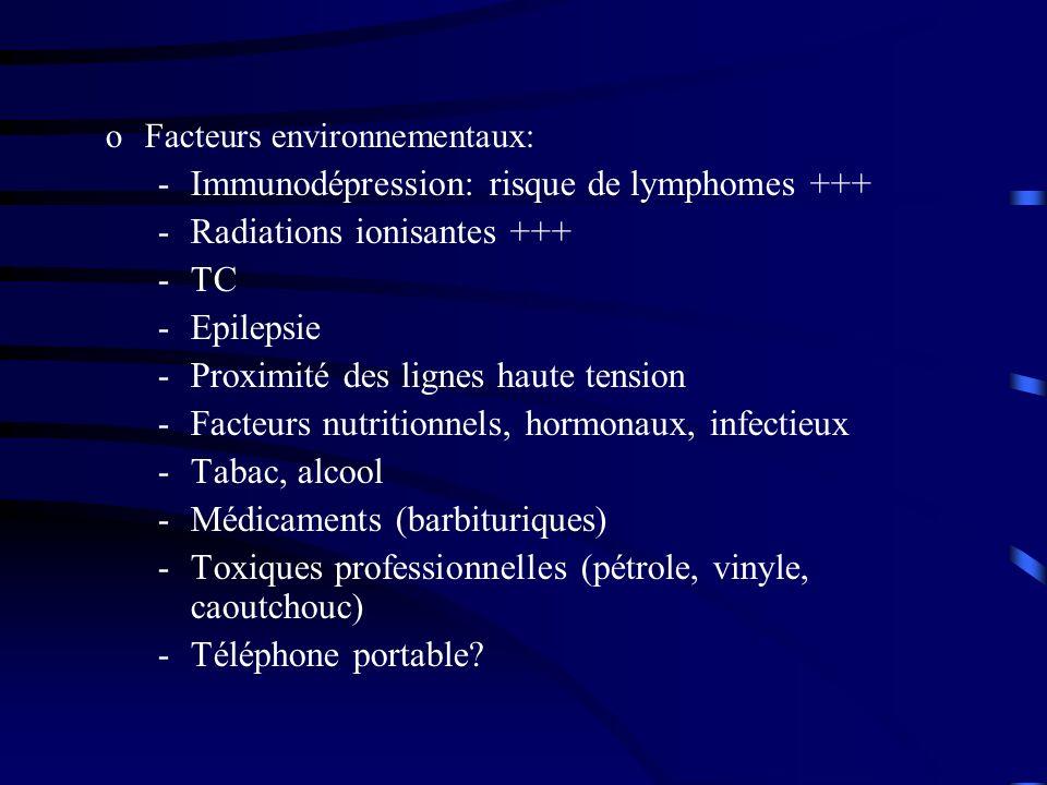 oFacteurs environnementaux: -Immunodépression: risque de lymphomes +++ -Radiations ionisantes +++ -TC -Epilepsie -Proximité des lignes haute tension -Facteurs nutritionnels, hormonaux, infectieux -Tabac, alcool -Médicaments (barbituriques) -Toxiques professionnelles (pétrole, vinyle, caoutchouc) -Téléphone portable?