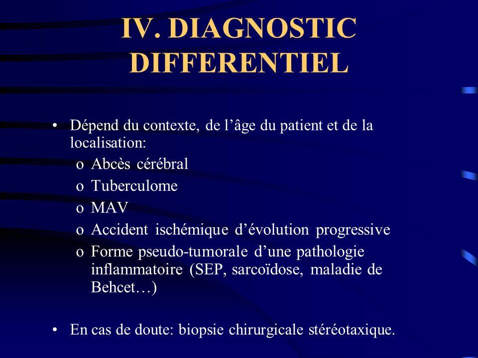 IV. DIAGNOSTIC DIFFERENTIEL Dépend du contexte, de lâge du patient et de la localisation: oAbcès cérébral oTuberculome oMAV oAccident ischémique dévol