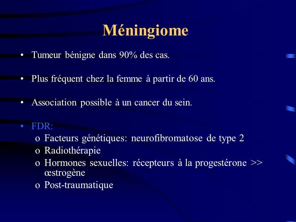 Méningiome Tumeur bénigne dans 90% des cas.Plus fréquent chez la femme à partir de 60 ans.