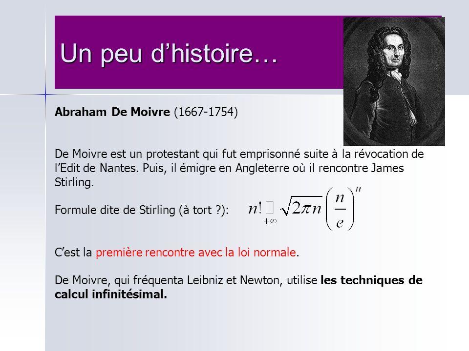 Un peu dhistoire… Abraham De Moivre (1667-1754) De Moivre est un protestant qui fut emprisonné suite à la révocation de lEdit de Nantes. Puis, il émig
