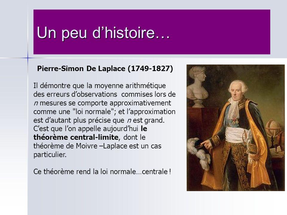 Un peu dhistoire… Pierre-Simon De Laplace (1749-1827) Il démontre que la moyenne arithmétique des erreurs dobservations commises lors de n mesures se