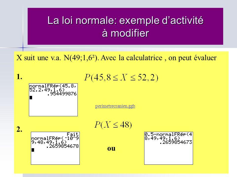 La loi normale: exemple dactivité à modifier X suit une v.a. N(49;1,6²). Avec la calculatrice, on peut évaluer 1. perimetrecranien.ggb 2. ou