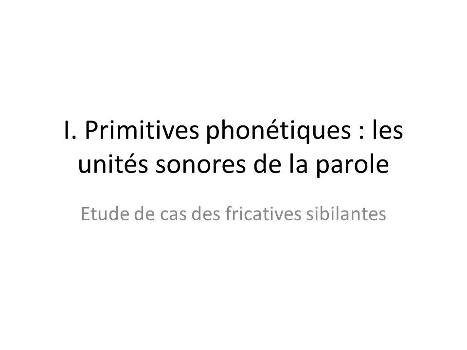 Plan I. Primitives phonétiques : les unités sonores de la parole – Phonèmes, traits – Indices contrastifs des fricatives sibilantes Plusieurs corrélat