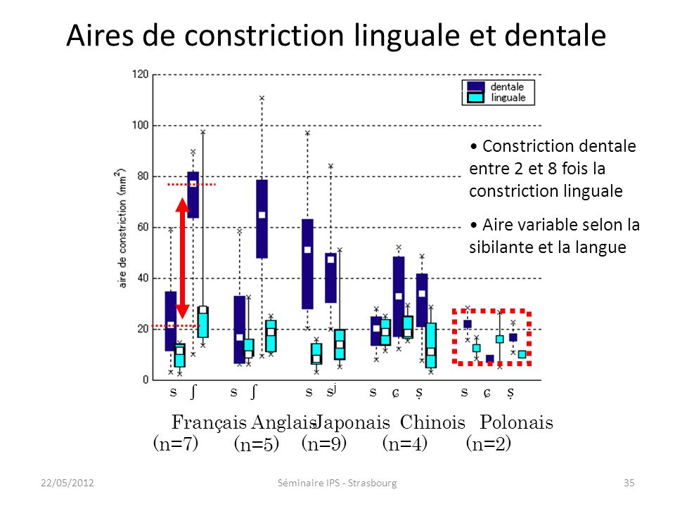 34 Constrictions dentale et linguale Coupe sagittaleCoupes coronales Coupes sagittales et coronales IRM ( ʂ, polonais), Toda, thèse 2009 22/05/2012Sém