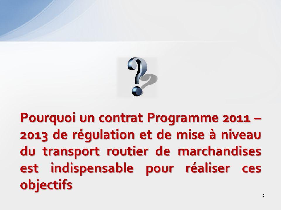 Pourquoi un contrat Programme 2011 – 2013 de régulation et de mise à niveau du transport routier de marchandises est indispensable pour réaliser ces objectifs 5